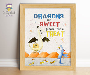 Dragons Love Tacos Birthday Party Sign - Sweet Treat