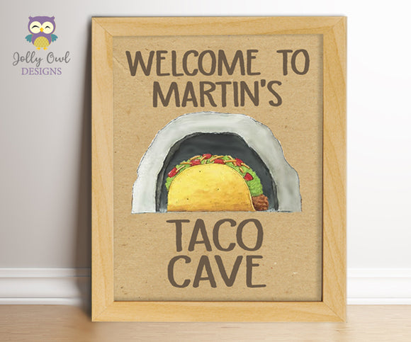 Dragons Love Tacos Birthday Party Sign - Taco Cave