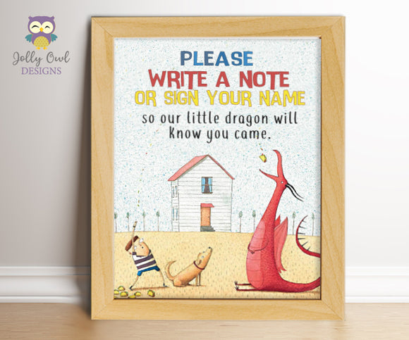 Dragons Love Tacos Birthday Party Sign - Write A Note