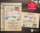 Storybook Themed Baby Shower Invitation with Book Request Insert