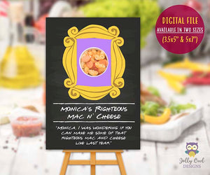 Friends TV Themed Party Food Label - Monica's Righteous Mac N' Cheese
