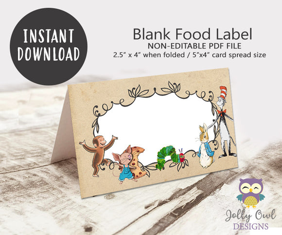 Blank Food Tent Label for Storybook Party - Jolly Owl Designs