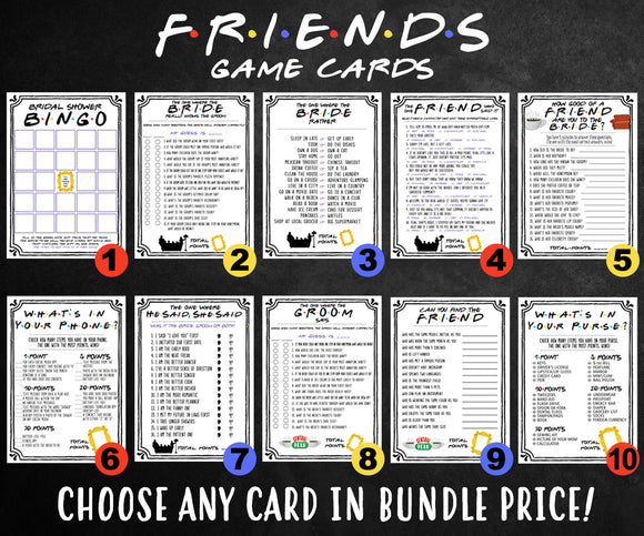 Friends TV Show Bridal Shower Games - BUNDLE SET