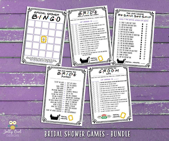 Friends TV Bridal Shower Games - 5 Games BUNDLE SET