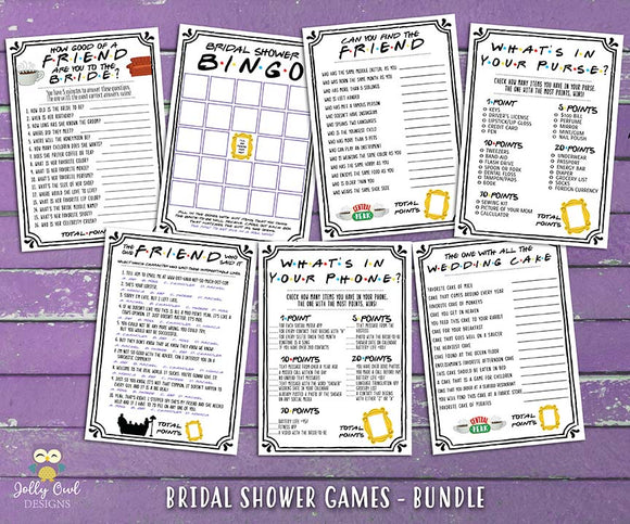 Friends TV Bridal Shower Games - 7 Games BUNDLE SET