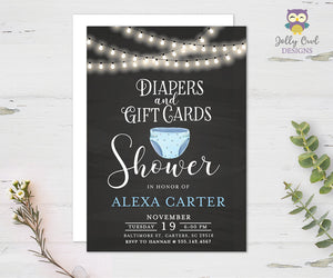 Diaper and Gift Cards Shower Invitation