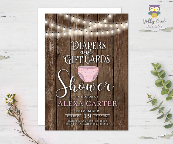 Diapers and Gift Cards Shower Invitation