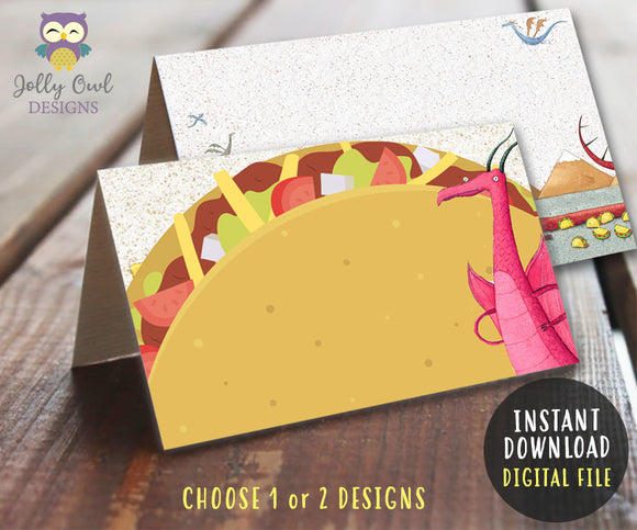 Dragons Love Tacos Theme party Food Tent Label - Jolly Owl Designs
