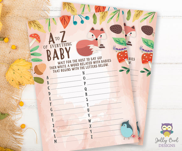 Woodland Baby Shower Game Card - A to Z of Everything Baby
