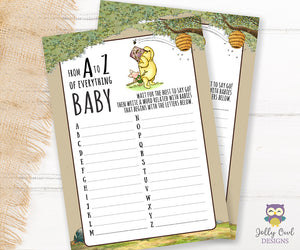 Winnie The Pooh Baby Shower Game Card - A to Z of Everything Baby