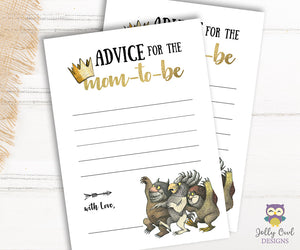 Where The Wild Things Are Themed Baby Shower Game Card Advice for the Mom To Be