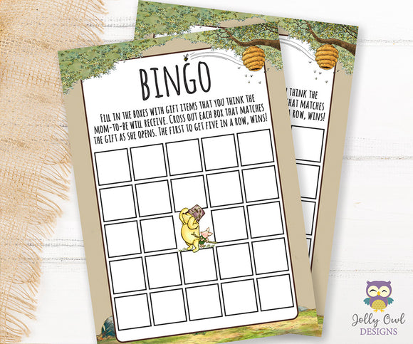 Winnie The Pooh Baby Shower Game Card - BINGO - Jolly Owl Designs