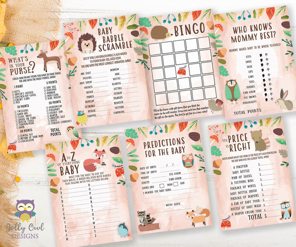 Woodland Themed Baby Shower Games - 7 Games BUNDLE SET