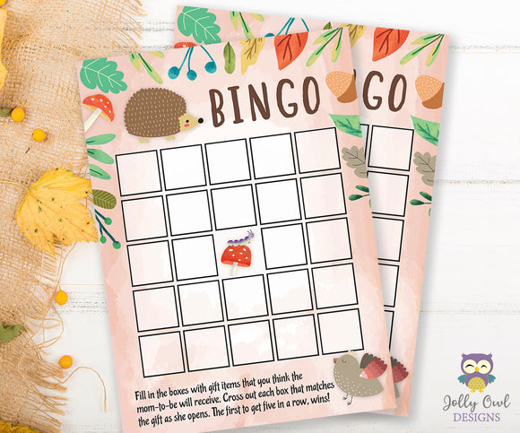 Woodland Baby Shower Game Card - BINGO