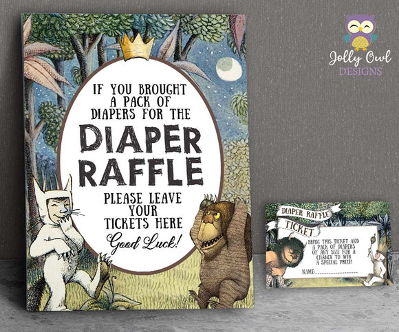 Where The Wild Things Are Baby Shower - Diaper Raffle Sign and Tickets