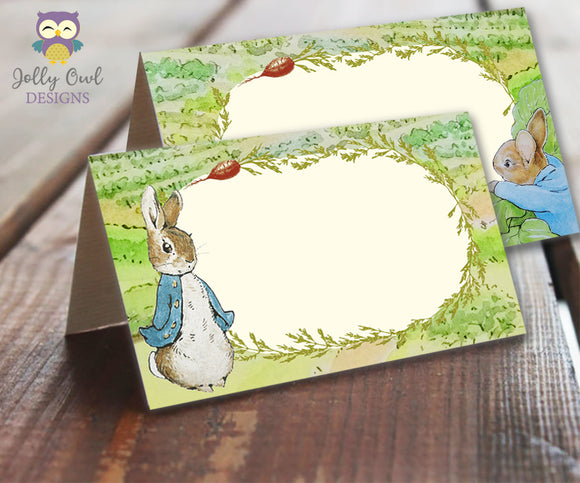 Food Tent Label for Peter Rabbit Themed Party - Jolly Owl Designs