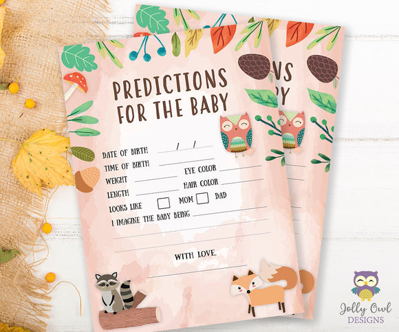 Woodland Baby Shower Game Card - Predictions for the Baby