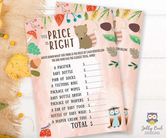 Woodland Baby Shower Game Card - Price Is Right