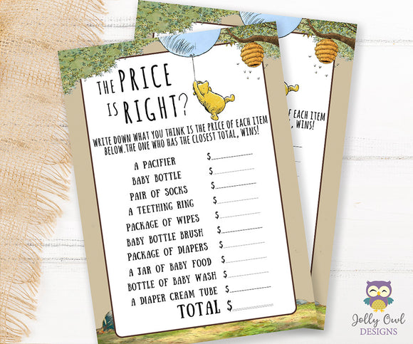 Winnie The Pooh Baby Shower Game Card - Price Is Right