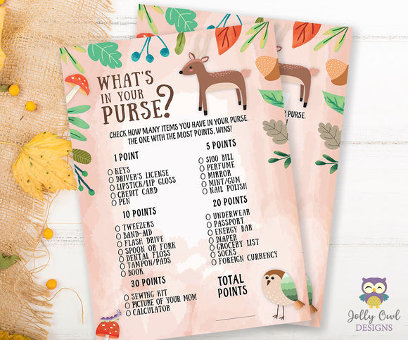Woodland Baby Shower Game Card - What's In Your Purse?