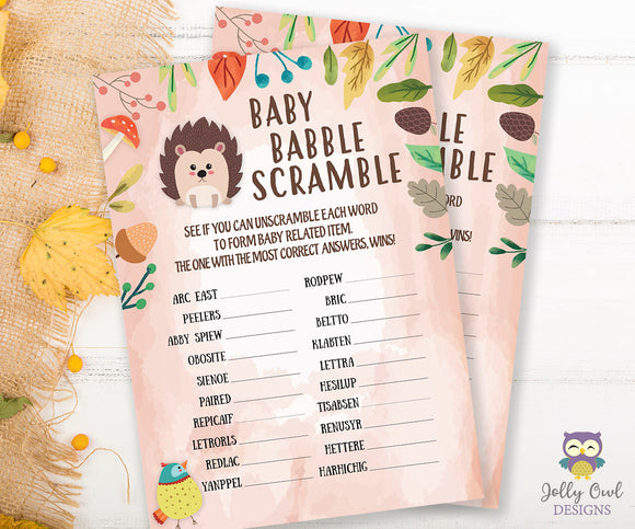 Woodland Baby Shower Game Card - Scrambled Letters