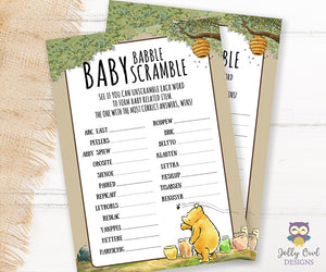 Winnie The Pooh Baby Shower Game Card - Scrambled Letters