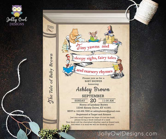 Book Themed or Storybook Baby Shower Invitation - Nursery Rhyme