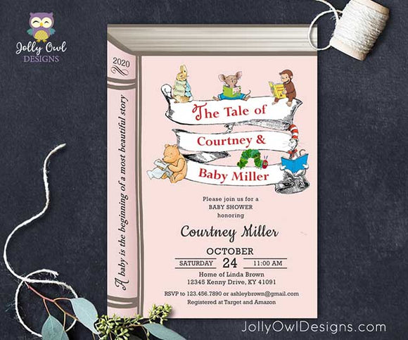 Storybook or Book Themed Baby Shower Invitation