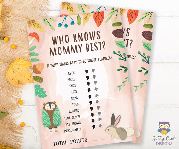 Woodland Baby Shower Game Card - Who Knows Mommy Best?