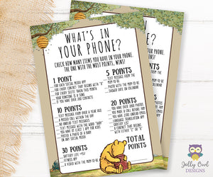 Winnie The Pooh Baby Shower Game - What's On Your Phone