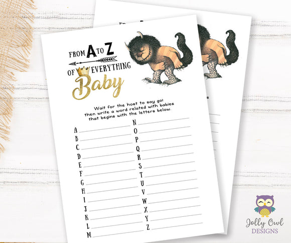 Where The Wild Things Are Baby Shower Game Card - A to Z of Everything Baby