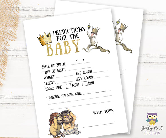 Where The Wild Things Are Baby Shower Game Card Predictions For Baby