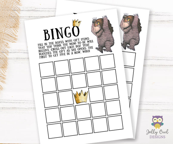 Where The Wild Things Are Baby Shower Game Card - BINGO