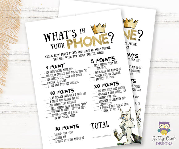 Where The Wild Things Are Baby Shower Game Card What's In Your Phone?