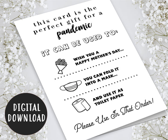 Funny Mother's Day Card on a Pandemic, Quarantine, Isolation, Social Distancing - Digital Download