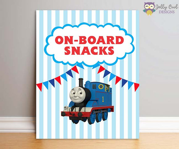 Thomas The Train Birthday Party Sign - On-Board Snacks - Jolly Owl Designs