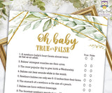 Gold Geometric Botanical Greenery Baby Shower Game - Oh Baby True Or False