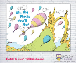 Oh The Places You'll Go Party Backdrop - Digital Downloadable
