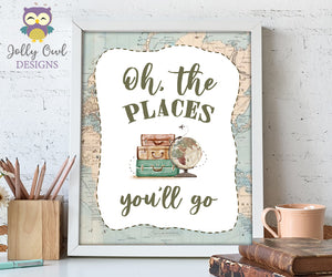 Oh The Places You'll Go Table Sign - Printable Signage for Vintage Travel Theme Baby Shower, Birthday, Retirement, Farewell Party