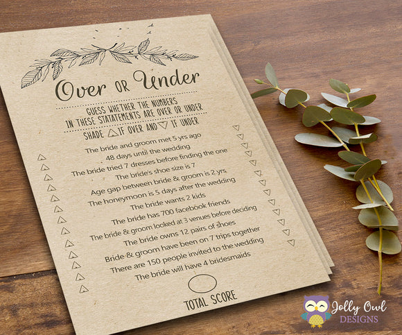 Rustic Themed Bridal Shower Game Over or Under - Jolly Owl Designs