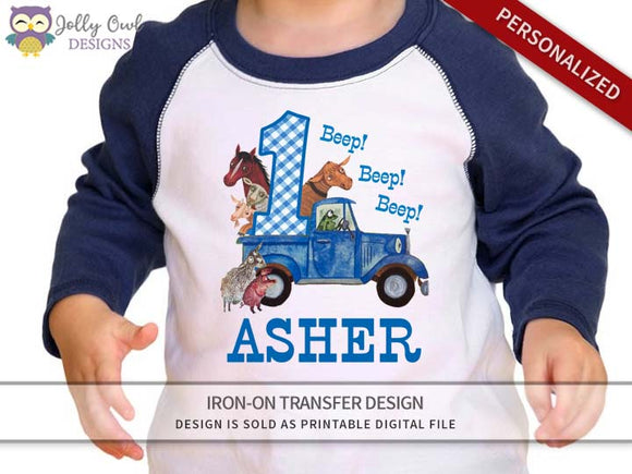 Little Blue Truck Personalized Iron On Transfer Shirt Design / Birthday Shirt / For Age 1 & 2 - Jolly Owl Designs