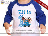 Little Blue Truck Personalized Iron On Transfer Shirt Design / Birthday Shirt / Age 1, 2 & 3