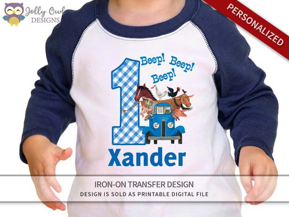 Little Blue Truck Personalized Iron On Transfer Shirt Design / Birthday Shirt