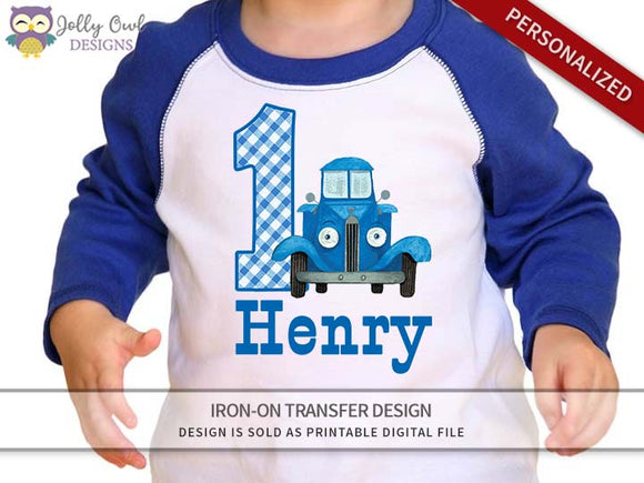 Little Blue Truck Personalized Iron On Transfer Shirt Design / Birthday Shirt / For Age 1 & 2