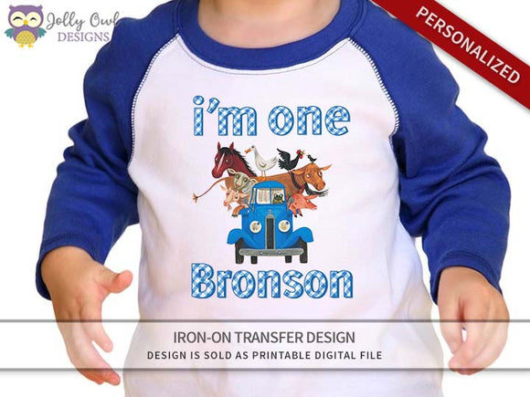 Little Blue Truck Personalized Iron On Transfer Shirt Design / Birthday Shirt / For Age 1
