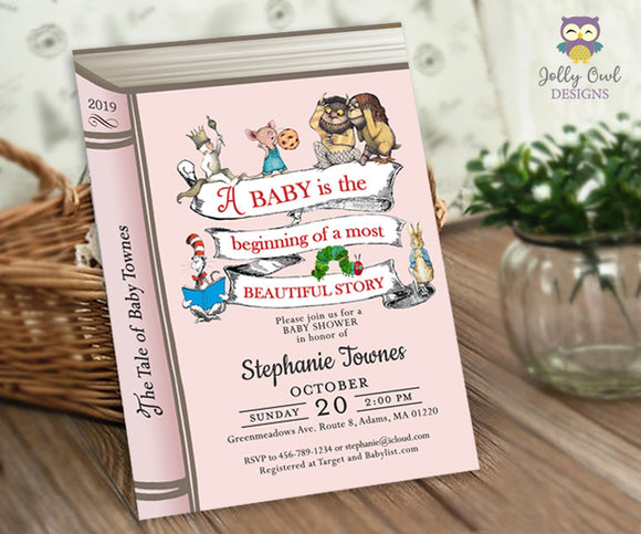 Stoybook Themed Baby Shower Invitation - Jolly Owl Designs