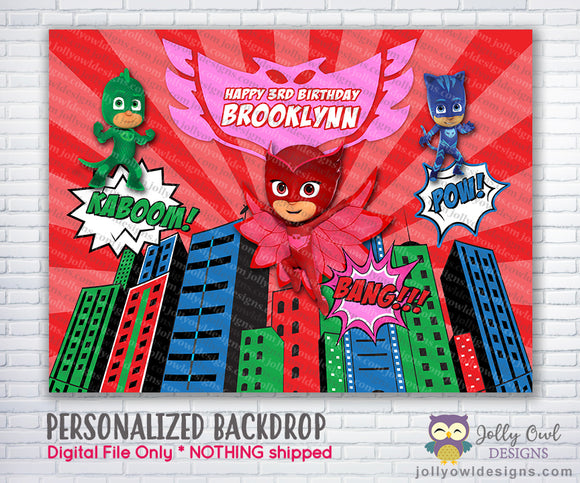 PJ Masks Owlette Birthday Party Backdrop