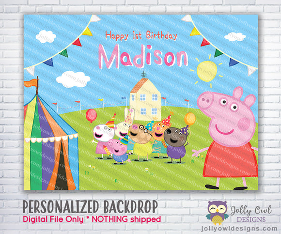 Peppa Pig Birthday Party Backdrop