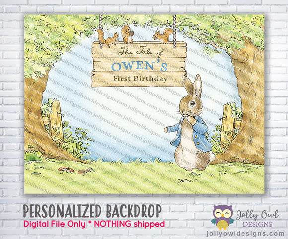 The Tale of Peter Rabbit Party Backdrop - Jolly Owl Designs