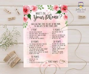 Floral Watercolor Themed Bridal Shower Game What's In Your Phone?